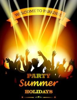 Sommer strandparty mit tanz silhouetten