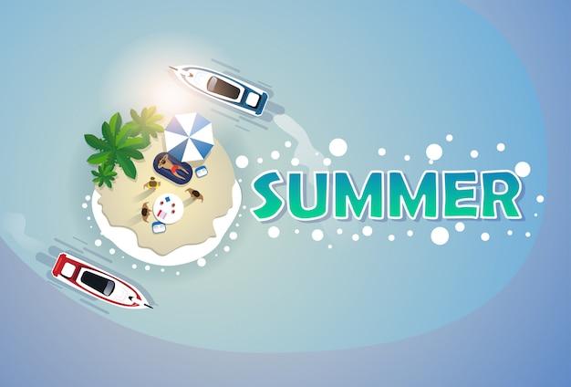 Sommer-strandurlaub-gesetzte sand-tropeninsel-feiertags-fahne