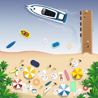 Sommer-strandurlaub-gesetzte sand-tropische feiertags-fahne