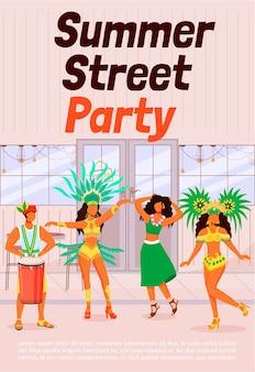 Sommer street party poster flache vorlage. tanzende frauen in traditioneller kleidung. mann, der conga spielt. samba. broschüre, broschüre einseitiges konzeptdesign mit comicfiguren. karnevalsflyer, flugblatt