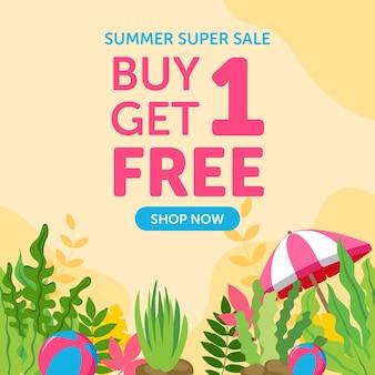 Sommer-superverkauf-banner-design-vorlage