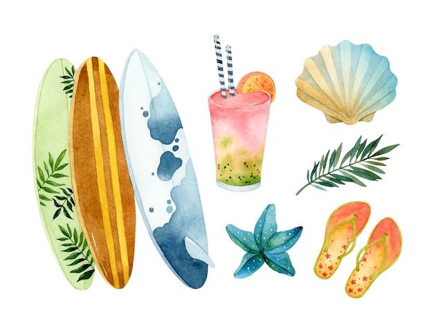 Sommer surfen aquarell elemente set isoliert