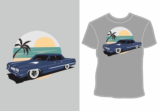 Sommer t-shirt design, auto retro, vintage, klassische sommerferien am strand