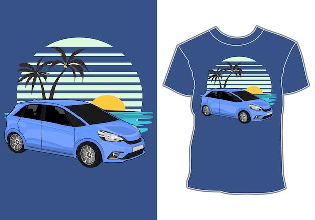 Sommer t-shirt design, auto urlaub am strand