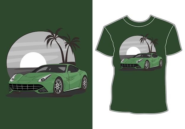 Sommer-t-shirt-design, moderner sportwagenurlaub am strand