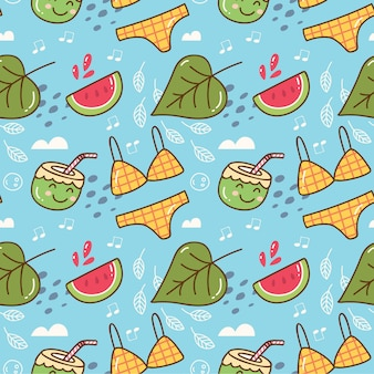 Sommer themenorientiertes kawaii nahtloses muster