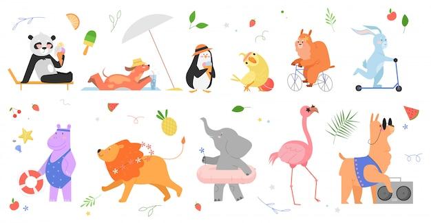 Sommer tier illustration set. gezeichnete animalische sammlung der karikaturhand mit glücklichen zootierfiguren, die sommerzeit, panda-pinguin-papageienhasen-hundelama-nilpferd-löwenelefanten-flamingo genießen