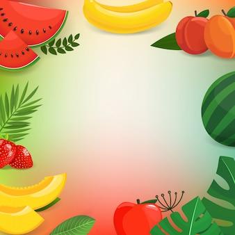 Sommer trägt früchte und verlässt vektorhintergrund