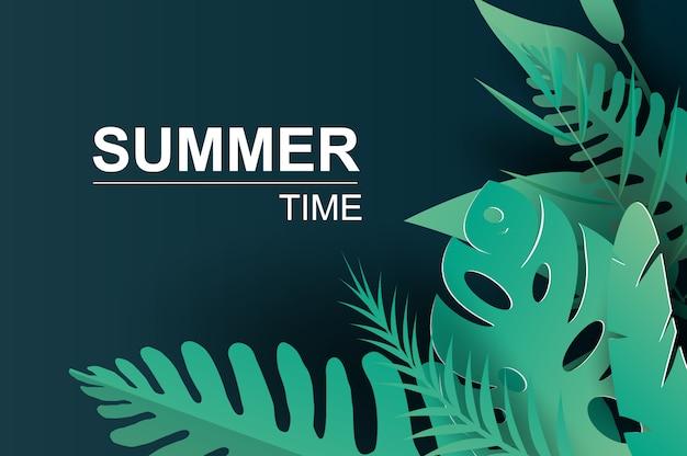 Sommer tropische palmblätter und pflanzen
