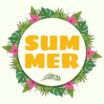 Sommer, tropische pflanzen und blumen