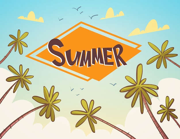 Sommer-tropischer ferien-palm treen über blauer himmel-küsten-feiertags-fahne