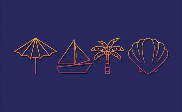 Sommer- und ferienikonensetdesign