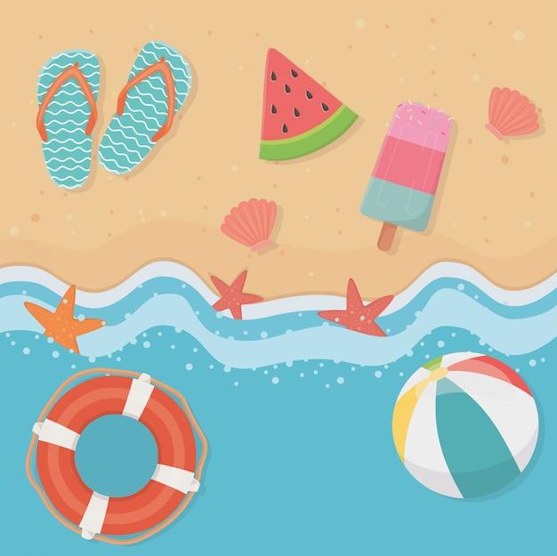 Sommer- und ferienillustration mit strandelementdesign