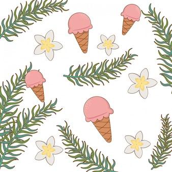 Sommer- und ferienthema, eiscreme, blumen, blätter