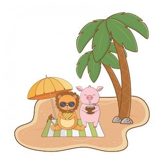 Sommer und niedliche tierkarikaturen