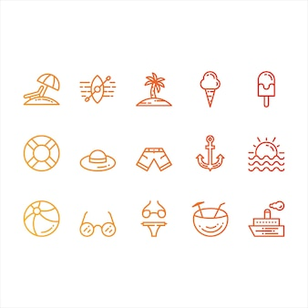 Sommer- und strand-ikonen
