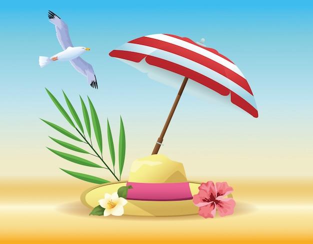Sommer- und strandartikel-cartoons