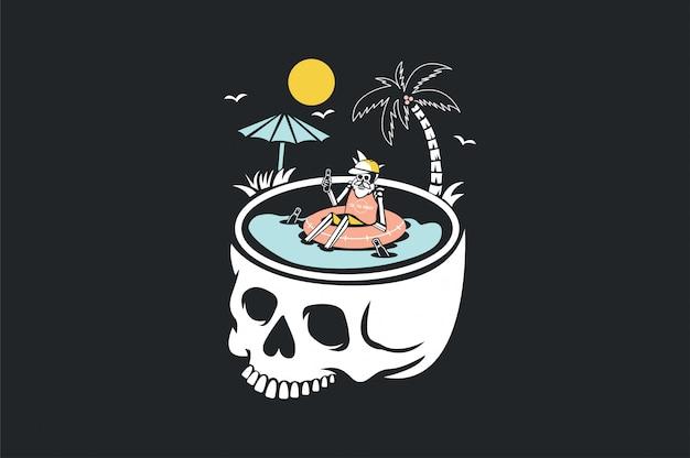 Sommer- und strandkarikatur