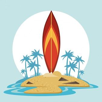 Sommer- und strandkarikaturen