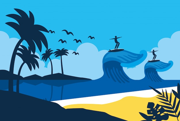 Sommer- und strandlandschaftskarikatur