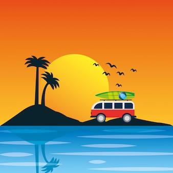 Sommer- und strandlandschaftskarikaturhintergrund