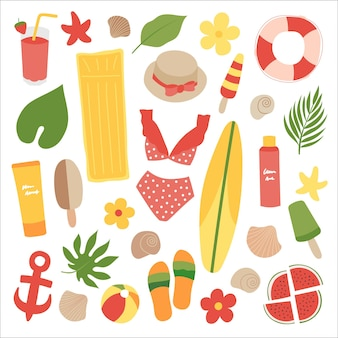 Sommer- und strandset badeanzug, flip-flops, eiscreme, luftmatratze, ball, pflanzen, blumen, muscheln