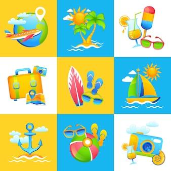 Sommer urlaub design konzept
