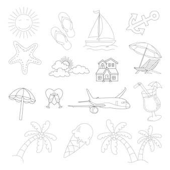Sommer-vektor-icon-doodle-stil-set