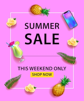 Sommer-verkauf-banner. smartphone, cocktail, ananas, rosen, palmblätter