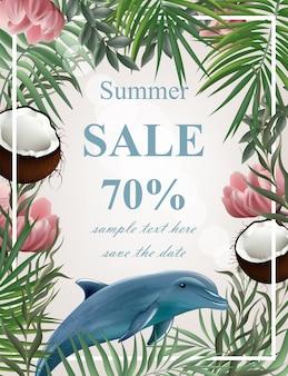 Sommer-verkauf-karte mit palmen und delfinen