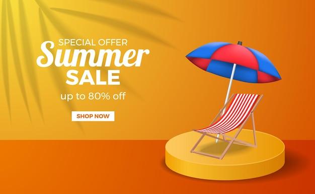 Sommer verkauf poster banner vorlage mit podium bühne orange warme farbe mit faulen stuhl und regenschirm