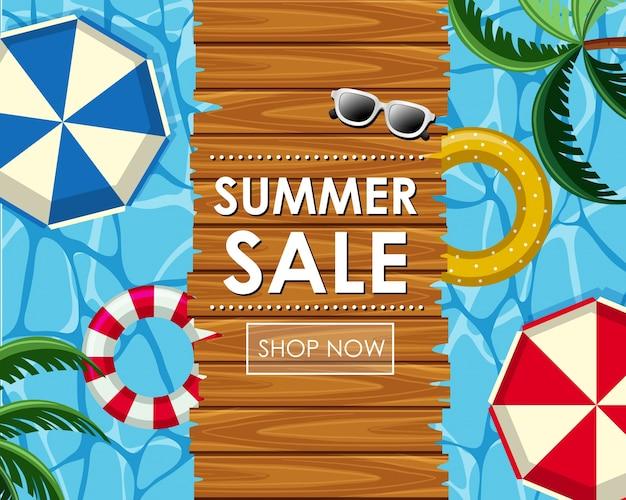 Sommer-verkauf-poster-design mit schwimmer und blick auf den pool