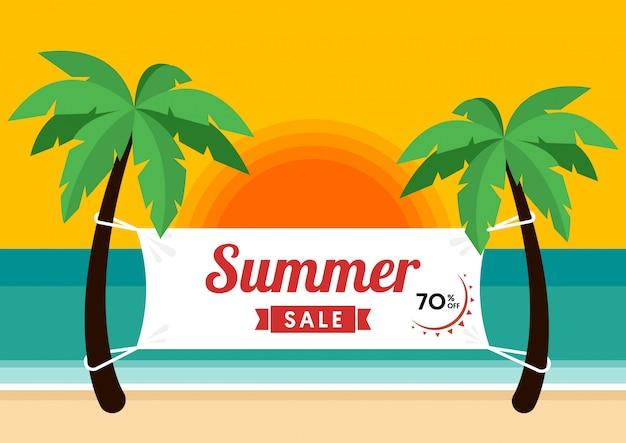 Sommer verkauf promotion banner sonderangebot und rabatt vorlage dekorativ mit strand hintergrund