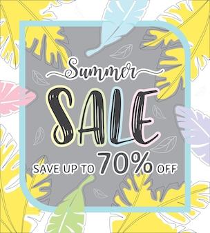 Sommer-verkauf vorlage banner bei rabatt bis zu 70% rabatt.