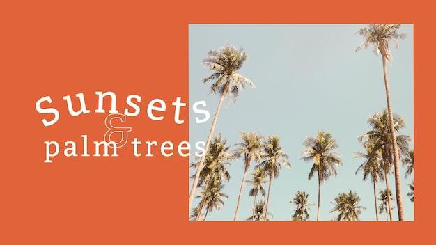 Sommer-vibes-banner-vorlagenvektor mit tropischem hintergrund