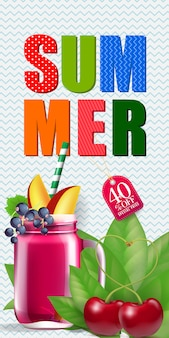 Sommer vierzig präsentieren aus schriftzug mit cocktail und kirschen.