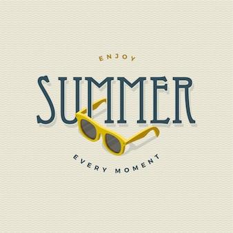 Sommer vintage zeichen mit sonnenbrille
