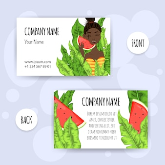 Sommer-visitenkarte mit dem dunkelhäutigen mädchen, das wassermelone isst. cartoon-stil. vektor-illustration.