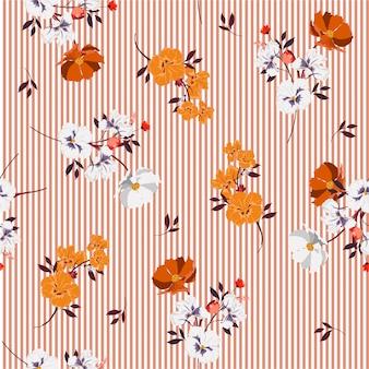 Sommer voll von blühenden blumen und von heller stimmung der blätter auf nahtlosem muster des orange streifens