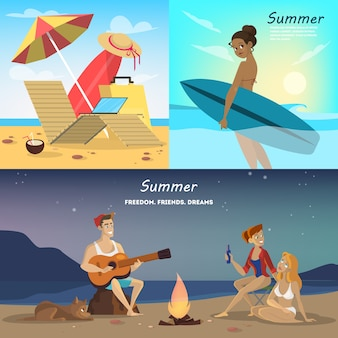 Sommer web banner set. sammlung von reisen