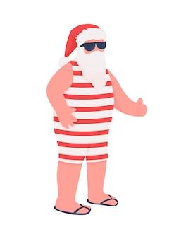 Sommer weihnachtsmann flache farbe gesichtslosen charakter. opa im lustigen festlichen kostüm. weihnachtsmann im urlaub. frohe weihnachten isolierte karikaturillustration für webgrafikdesign und -animation