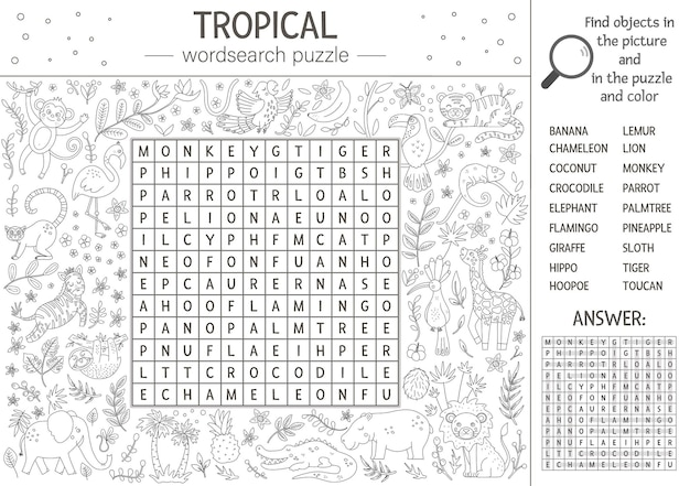 Sommer-wortsuchrätsel. stichwort mit tropischen tieren und vögeln für kinder. pädagogische schwarz-weiß-dschungel-kreuzworträtselaktivität mit niedlichen charakteren. spaß malvorlagen für kinder
