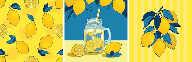 Sommer-zitronen-kartenset: nahtloses muster, zitronenzweig, limonade in einem glas