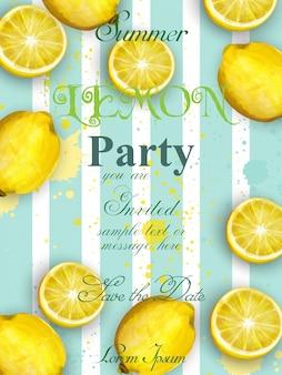 Sommer zitronen party einladung