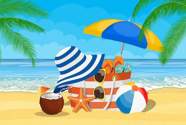 Sommeraccessoires für den strand.