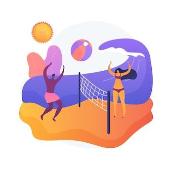 Sommeraktivitäten. sommerferien, entspannung am meer, ballspiele im freien. sonnenbräunende touristen, die beachvolleyball spielen. aktive ruheidee.