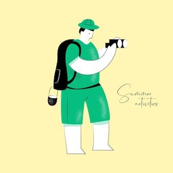 Sommeraktivitätsvektorillustration der person mit fernglas für markenidentität oder webdesign