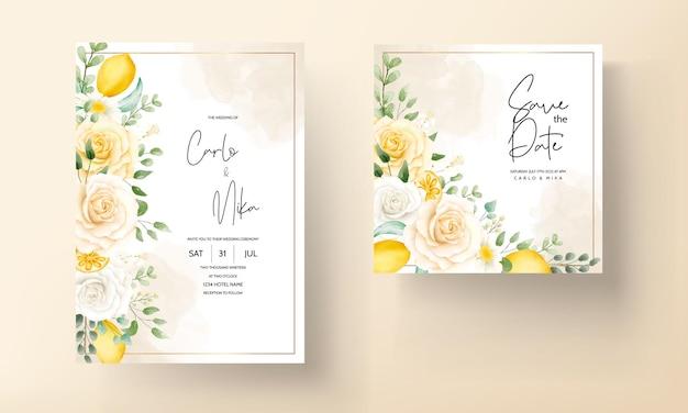Sommeraquarellblumen mit botanischer zitronenfruchthochzeitskarte