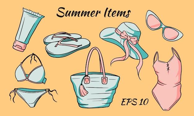Sommerartikel eingestellt. gegenstände, die für ein mädchen am strand notwendig sind.