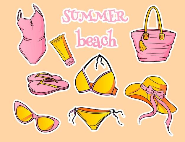 Sommerartikel. strandartikel für damen. badebekleidung, hut, sonnenbrille, flip-flops, sonnencreme, strandtasche. cartoon-stil.